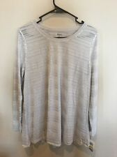 Style&Co Long sleeve Sheer Scoopneck Medium Blouse, Silver, Cotton, Polyester