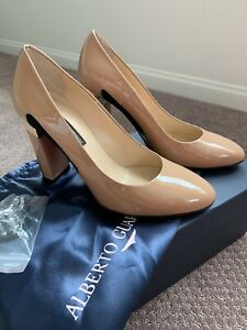 New $ 420 .ALBERTO GUARDIANI Leather High Block Heel Court Shoes Size 37