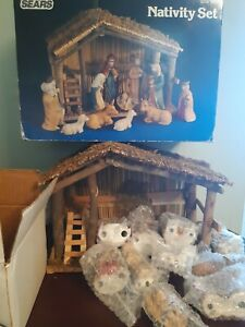 Vintage Sears Nativity Set 32-97889 11 Pieces With Stable Christmas Holiday