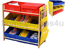 3 TIER TOY STORAGE SHELF UNIT WITH 8 CANVAS RED YELLOW BLUE DRAWER BOX CHILDRENS