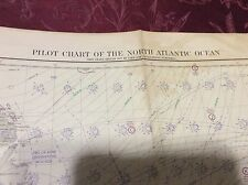 Vintage circa 1950 USC&GS Chart Map - 2 sided North Atlantic Ocean Pilot Chart