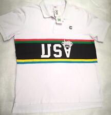 Crooks & Castles Mens 2XL XXL White USA National Stars SS Knit Polo Shirt NWT