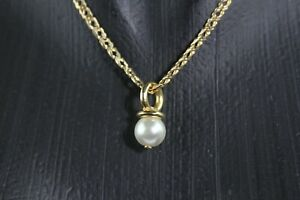 """ELEGANT 14k YELLOW GOLD SOLID CURB CHAIN 18.75"""" WITH PEARL PACIFIER PENDANT"""