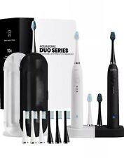 AquaSonic Duo Dual Handle Ultra Whitening Electric Toothbrushes Kit