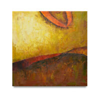 NY Art-Modern Red & Gold Abstract Fine Art 36x36 Original Oil Painting on Canvas