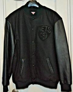 Men's-Mitchell & Ness-Brooklyn-New Jersey-Nets-Wool-Leather-Jacket-Black-2XL-XXL