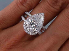 1.70 Ct. Pear Cut Halo U-Prong Pave Diamond Engagement Ring - GIA Certified