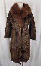 Vintage 40s Real Genuine Fur Long Maxi Wrap Coat Brown Womens 11 Hollywood Glam