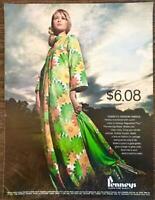 1968 Penney's REgulated Plus Fashion Fabrics PRINT AD New Big Flower Glow Green
