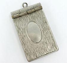 Vintage Match Safe Vesta Holder Textured Silver Tone Spring Hinge 2in Top Ring