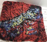 JEANNE LANVIN CASTILLO Vintage Scarf SIGNED 29 X 30 MULTI-COLOR