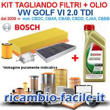 KIT TAGLIANDO BOSCH VW GOLF 6 VI 2.0 TDI DIESEL FILTRI + CASTROL EDGE 5W30 CBDC