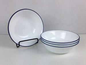 4 Corelle Cereal Bowls Vitrelle Blue Rim, Cafe Blue, Royal Blue Rim
