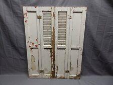 Antique Bi-fold Window Wood Louvered Paneled Shutters 32x13 Interior Vtg 514-18P