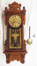 Old Antique William GILBERT Thespian Carved Oak WALL CLOCK w/Key & Pendulum RUNS