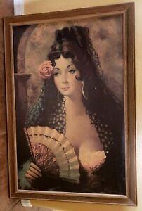J. ADAMOL Vintage Framed ART PRINT CARMEN SPANISH MEXICAN LADY Ships Free