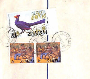 XX86 1978 ZAMBIA Ndola Luanshya REGISTERED STATIONERY Airmail Cover BIRDS