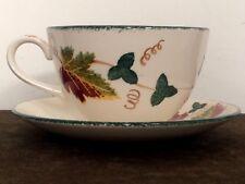 "Poole Pottery Cup & Saucer - ""New England"" Pattern - Dorset Ceramic Leaf Design"