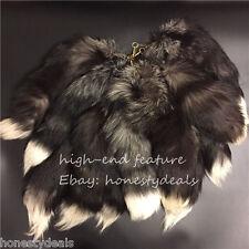 "20"" Large Long Black Real Silver Fox Fur Tail Keychain Leather Tassel Bag charm"