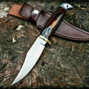 Hunting Knife Fixed Blade Drop Point Tactical Survival Wild Combat Wood Handle S