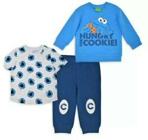 Sesame Street Cookie Monster Boy Blue 3pc Outfit  Size 18 mo