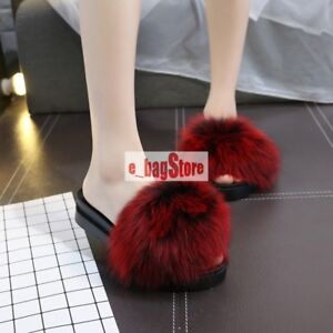 Women Real Fox Fur Slippers Raccoon Sandals Shoes Fluffy Slides Luxury Slippers