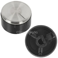 2 x Genuine BOSCH Oven Cooker Hob Control Knobs Silver Black Switch 616100