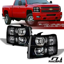 FOR 2007-2013 2014 CHEVY SILVERADO BLACK HOUSING HEADLIGHTS SIGNAL LAMPS PAIR NB