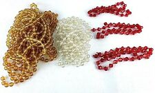 Vintage Plastic Bead Garland Faceted Amber Red Clear 48 Feet