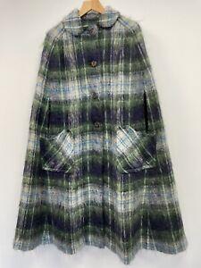 Glen Cree Mohair Poncho Cape Ladies UK 14 Green Navy Tartan Sleeveless Cardigan