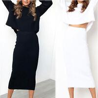 Thick Skirt Lady Bodycon Slim High Waist Stretch Long Maxi Women Pencil Skirts l