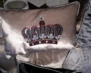 """Dekokissen,""""Viktoria"""",Krone,Grau/Silber,Samt,35x60cm,modern,elegant,luxuriös,"""