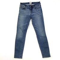 "J. Crew Women's 8"" Toothpick Skinny Medium Wash Stretch Mid Rise Jeans Sz 26"