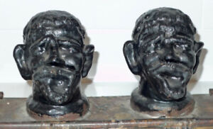 Two Grotesque Heads Molded Metal Sculpture Southern School Folk Art