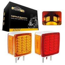 2x Square Double Face stud Mount Fender Stop Turn Tail Light Amber/Red 39 LED