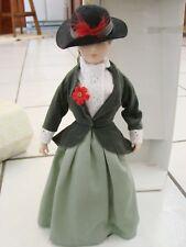 "FRANKLIN MINT  HEIRLOOM DOLLS  COUNTRY PORCELAIN DOLL 12"" LONG DRESS & HAT"