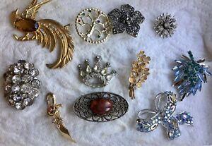 Vintage Lot 11 Broken Missing Stones Costume Brooch Jelly Belly Bird Tree of Lif