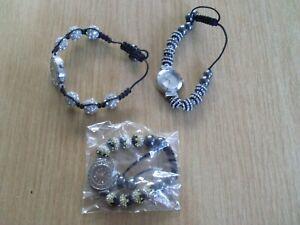 Three Shamballa Beaded Bracelet Watches with Crystal Style Stones