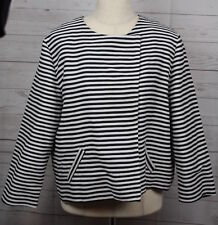 Chico's Womens Black White Striped Double Breasted Fully Lined Jacket Chicos 2