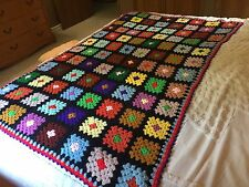 Retro Granny Square Crochet Afghan Black Border Vintage Blanket Multi Color