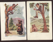 1905/06 SCARED MEN IN TREES 2 OLD EMBOSSED COMIC TAMMEN UNUSED POSTCARDS PC7068