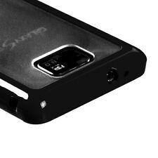 For AT&T Samsung Galaxy S II 2 TPU Gel GUMMY Hard Skin Case Cover Black Clear