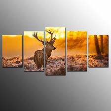 FRAMED Animal Wall Art Canvas Painting Single Red Deer Canvas Print-5pcs
