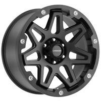 "4-Vision 416 Se7en 17x9 6x5.5"" -12mm Satin Black Wheels Rims 17"" Inch"