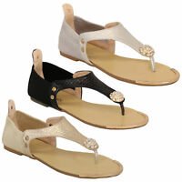 ladies diamante sandals womens slip on flat toe post shoes summer party fashion