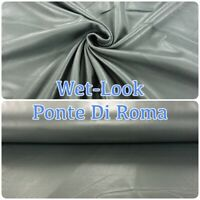WET LOOK Grey High Shine Coated Ponte Di Roma Stretch Knit Dressmaking Fabric