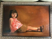 "Large J.H Bielecki 1967 ""Seated Girl Scene"" Oil Painting - Signed And Framed"