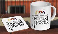 Hocus Pocus Art Ceramic Coffee MUG + Wooden Coaster Gift Set