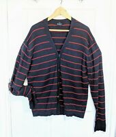 PAUL SMITH Jeans Cardigan Navy Blue Red Stripes Size XXL Cotton Wool Blend VGC