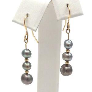 14K Gold Filled Triple Black Grey Freshwater Pearl Dangle Fish Hook Earrings